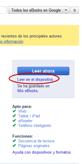 Leer en Ipad Google eBooks Store
