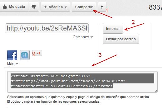Código de insercion de YouTube videos