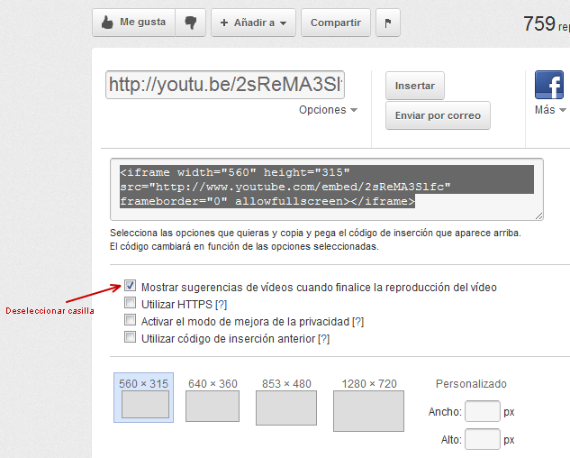Desactivar videos relacionados YouTube