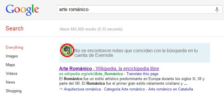 Sincronizar evernote con Google search