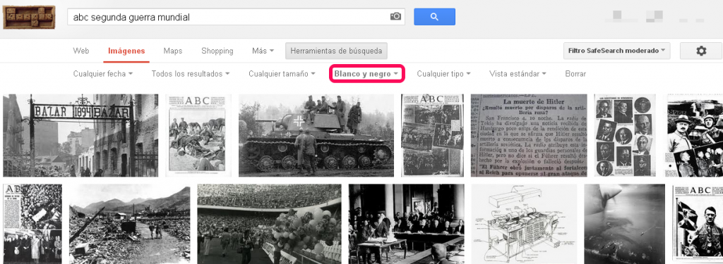 google search filtrar blanco y negro