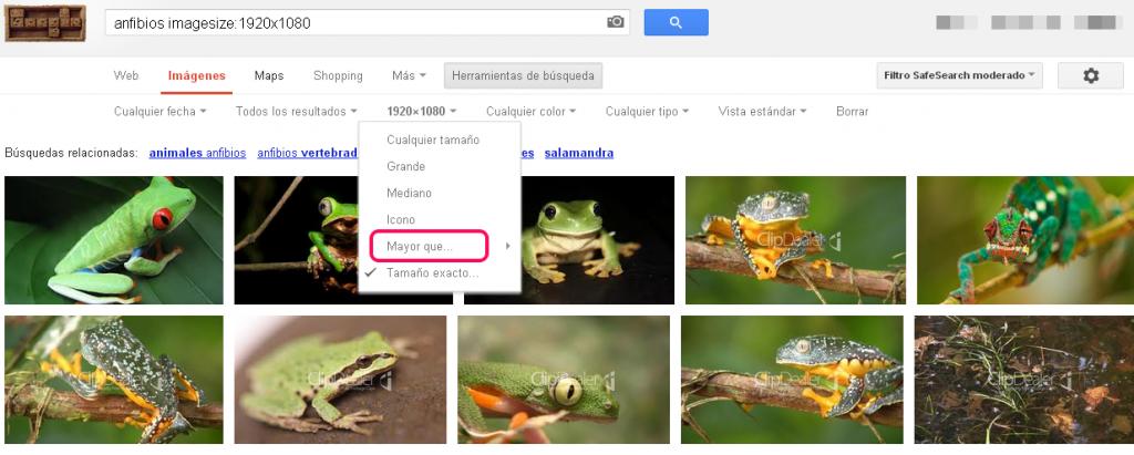 google search filtrar por tamaño