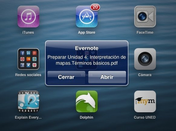 notificaciones evernote ipad