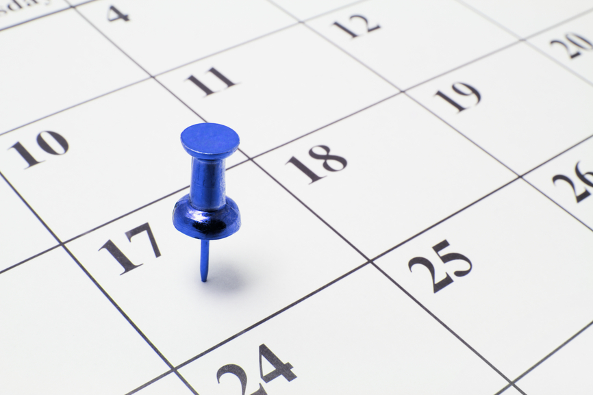 Thumb Tack on Calendar