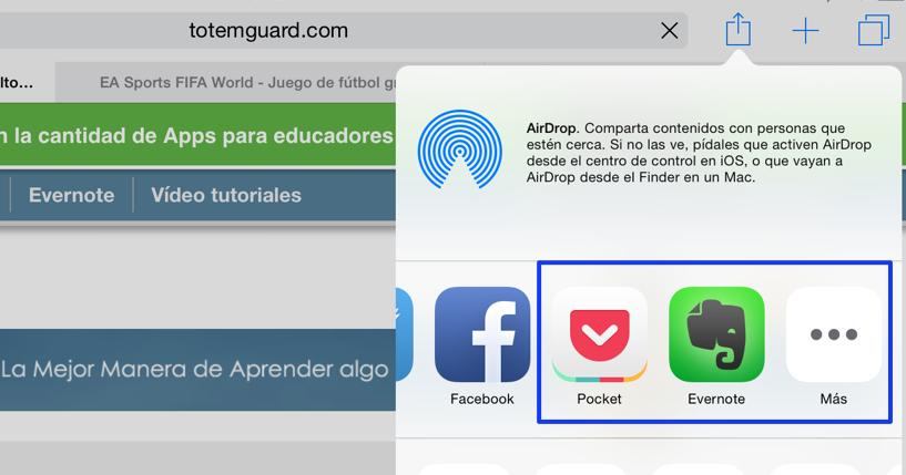 capturar contenido web a otra app ipad instalar extensiones