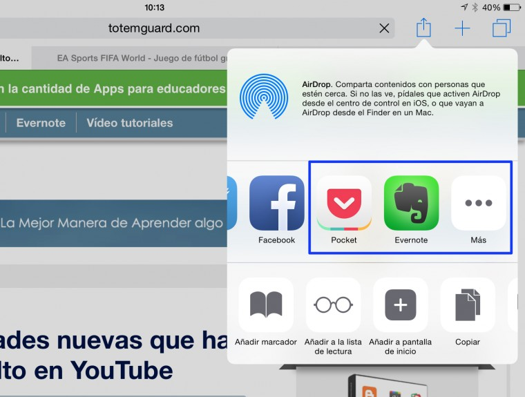instalar evernote pocket u otra app a compartir ipad