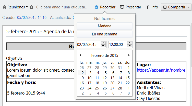 Recordatorio evernote