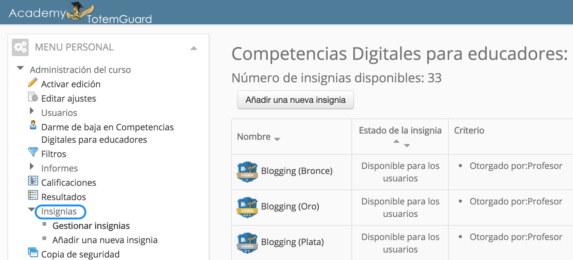 gestion insignias moodle