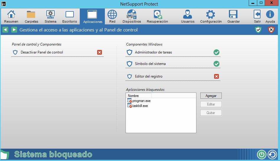 Gestiona el acceso a aplicaciones y los componentes del panel de control