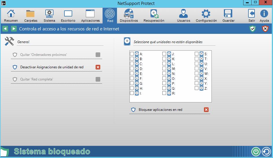 Controla el acceso a los recursos de red e internet